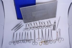 Securos Veterinary Surgical Pack With Tray And 31 Instruments Red