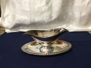 Wm Rogers Silver Plate Double Sided Gravy Sauce Boat W Attached Underplate