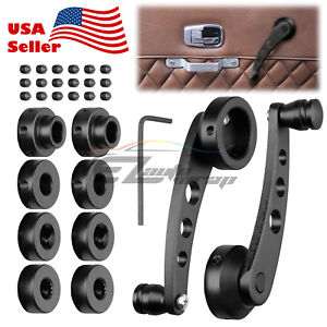 2pcs Black Car Window Winder Glass Crank Handle Aluminium Knobs Metal Universal