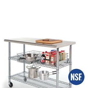 Commercial Stainless Steel Top Worktable Shelving Kitchen Rolling Cart Workbench