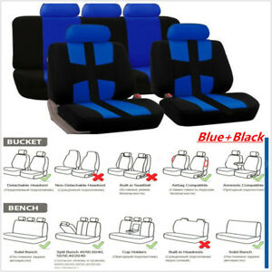 Universal Car Seat Covers 9p Set Full Styling Seat Cover Blue Black For 5 Seats