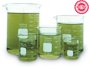 Griffin Low Form Corning Beaker Set With Double scale Markings set Of 5 New