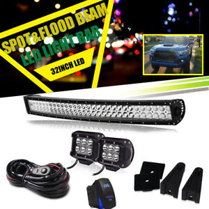 30 Inch Curved Led Light Bar Fit For 05 17 Toyota Tacoma 4wd 2wd Hidden Bumper