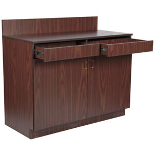 48 Brown Restaurant Waitress Station 2 Drawers 2 Adjustable Shelves And 2 Doors