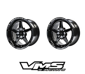 15x8 Vms Racing 5 Spoke Black Polished Drag Rims Wheels 4x100 4x114 Et20 X2