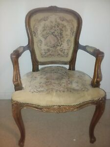 Vintage French Provincial Carved Wood Tapestry Accent Arm Chair