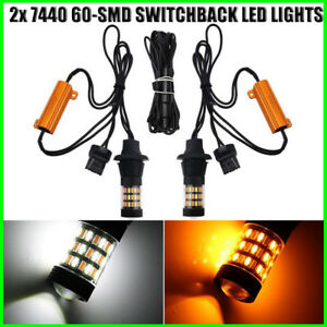 2pcs 7440 Switchback Led Turn Signal Lights 60 Smd White Yellow Dual Color Bulbs
