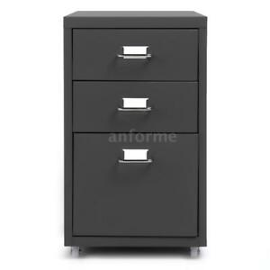 Ikayaa 3 Drawer Metal File Filing Cabinet Home Office Cupboard W Casters B2y1
