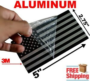 3d Aluminum American Flag Sticker Decal Emblem 3m Huge 5 X 2 75 Black Silver
