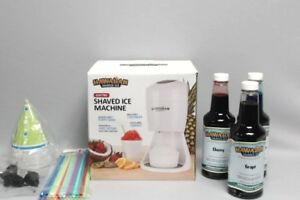 Hawaiian Shaved Ice Maker Party Package Cups straws and 3 Flavors