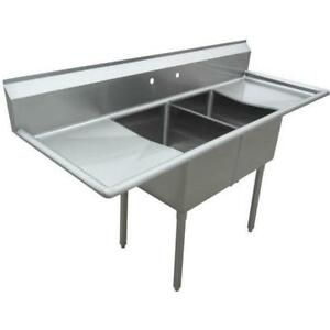 Stainless Steel 2 Compartment Sink 72 X 27 With 2 18 Drainboards