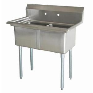 Stainless Steel 2 Compartment Sink 41 5 X 27 No Drainboards