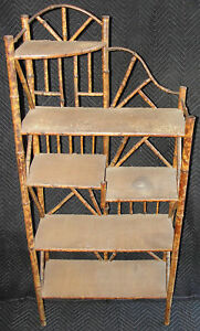 Rare Antique Victorian English Japanese Bamboo Pyrography Etagere Awesome