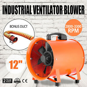 12 Extractor Fan Blower Portable 5m Duct Hose 110v 250mm Ventilator Chemical