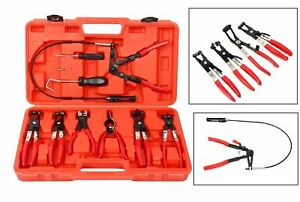 9pc Hose Clamp Clip Removal Pliers Kit Swivel Jaw Fuel Oil Water Pliers Tool