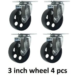 4 Pack 3 5 Steel Swivel Plate Caster Wheels With Brake Lock Heavy Duty 1540lbs
