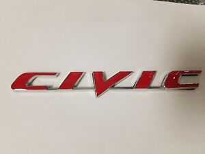 Red Civic Rear Trunk Letters Emblem Word Sign Decal For Honda Logo