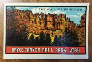 Rare Original Vintage Travel Decal Bryce Canyon National Park Utah Auto Luggage