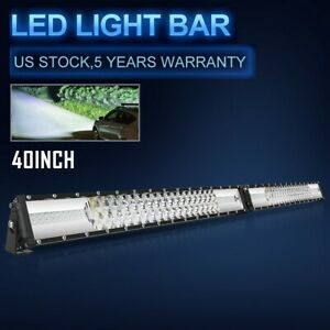 2592w 42inch Led Light Bar Dual Color White Amber Strobe Driving Lamp Wiring Kit
