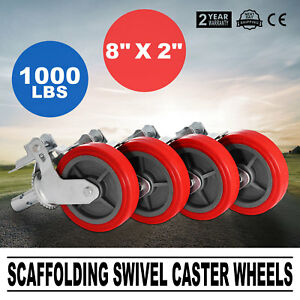 Scaffold Scaffolding Casters 8 X 2 Set Of 4 Locking Polyurethane Wheel Swivel