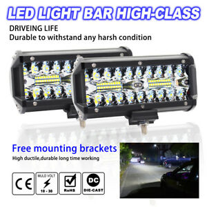 7 Inch 400w Led Work Light Bar Flood Spot Beam Offroad 4wd Suv Driving Fog Light