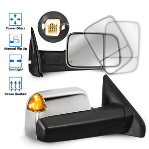2x Chrome Power Heated Towing Mirrors W Turn Signal For 02 08 Dodge Ram 1500