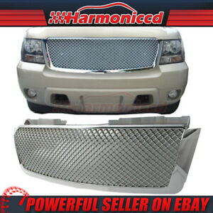 Fits 07 14 Tahoe Suburban Avalanche Chrome Front Bumper Cover Mesh Hood Grille