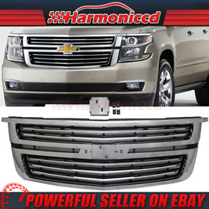 Fits 15 17 Chevy Tahoe Ltz Style Front Upper Grill Grille Chrome