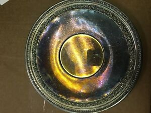 1952 Reed Barton Silverplate Round Serving Tray 1201 Repousse Scroll Leaf Rim
