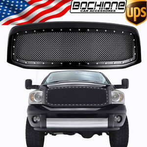 For 06 2007 2008 Dodge Ram 1500 2500 3500 Black Front Hood Grill Grille Assembly