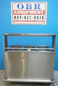 Useco Portable Stainless Steel Electric 3 Well Steam Table On Casters W Sneeze