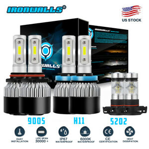 H11 9005 Led Headlight 5202 Fog Light For Chevy Silverado 2500 3500 Hd 2007 2018