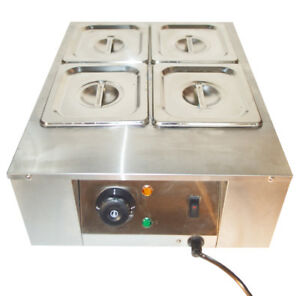 4 pan Chocolate Melter Melting Machine Melt Hot Pot Kitchen Heat Catering Warm