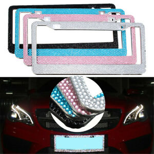 Bling Crystal Car Truck Van License Plate Frame Tag Cover Metal Set Usa Custom