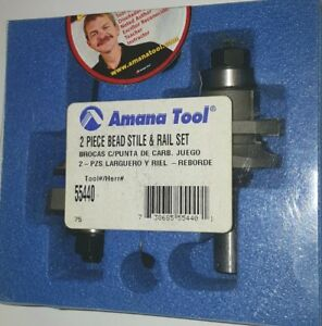Amana Tool 55440 2 Piece Bead Stile Rail Router Bit Set 1 2 Inch Shank