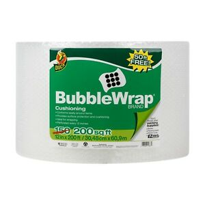 12 In X 200 Ft Bubble Wrap bonus 50 Ft Roll Plastic Packing Protection Cover
