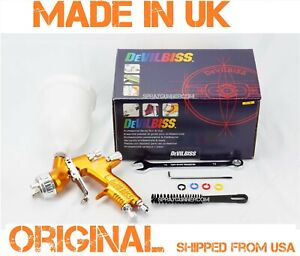 Paint Spray Gun Devilbiss Gti Pro Lite 1 4mm T110 Gold Cup New From Us Seller