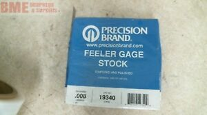 Precision Brand Feeler Gage Stock 19340 Thickness Stock 008