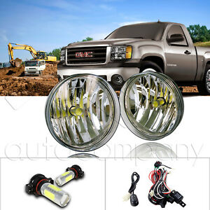 For 07 13 Gmc Sierra Bumper Fog Lights W wiring Kit Cob Led Bulbs Clearr