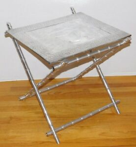 Vtg Aluminum Faux Bamboo X Leg Bar Serving Tray Folding Table Mid Century Modern
