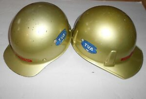 Vintage Tva Hard Hats With 30 Plus Years Safety Stickers