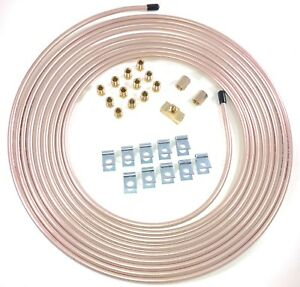 25 Ft Of 1 4 Cupronickel Brake Line W Unions Clips Fittings Tee