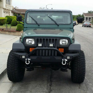 For 1987 2006 Jeep Wrangler Tj Yj Textured Front Bumper W Winch Plate D Ring