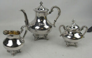 Reed Barton Regent 5600 3 Pc Silverplate Tea Set Teapot Sugar Creamer Nice