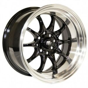 Mst Mt11 15x8 15x9 0 4x100 4x114 3 Black W Machined Lip Staggered set Of 4