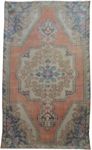 Vintage Distressed Area Rug Hand Knotted Low Pile Turkish Oushak Rug 4 1 X 6 11