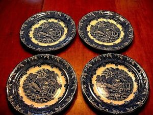 4 Antique George Jones Blue White Dinner Plates In The Farm Pattern