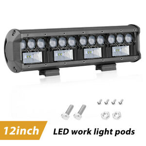 12inch 9d Side Shooter Quad Row Led Light Bar Spot Flood Combo 6000k Jeep Atv