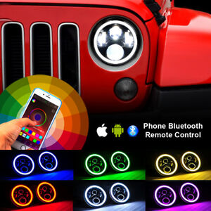 American Modified 7 Inch Rgb Halo Headlights 97 18 Jeep Wrangler Tj Jk Jku