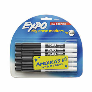 Expo Low Odor Dry Erase Markers Fine Tip Black 12 Count